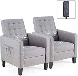 ECOTOUGE Set of 2 Accent Chairs, 4 Massage Points Recliner with Pop-up Footrest, Button-Tufted Back Modern Armchair for Be...