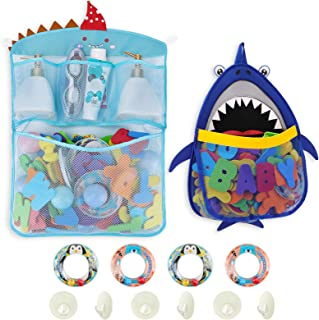Free Swimming Baby 2 x Shark Mesh Bath Toy Organizer + 6 Ultra Strong Hooks + 4 Hoopla Rings Bath Toy Keep Toddler and Bab...