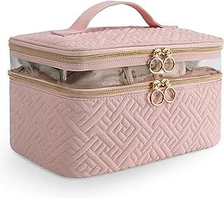 کیف لوازم آرایشی مسافرتی بزرگ KIPBELIF - کیف آرایش دو لایه با دسته حمل ، کیف لوازم آرایشی با لایه بالا برای برس ، موچین ، خط چشم ، صورتی