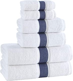 Lanssoume - 100% Cotton - 6 Piece Towel Set - Highly Absorbent & Quick Drying - 2 Bath + 2 Hand + 2 Wash Towels - White/Na...