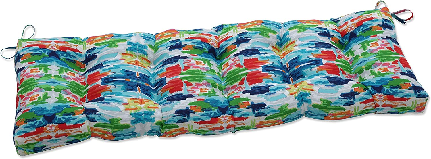 Pillow Perfect Outdoor/Indoor Abstract Reflections Tufted Bench/Swing Cushion, 60