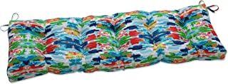 """Pillow Perfect Outdoor/Indoor Abstract Reflections Tufted Bench/Swing Cushion, 60"""" x 18"""", Multicolored"""