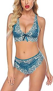 Avidlove Women Deep V Halter Lingerie Lace Babydoll Mesh Chemise Sleepwear
