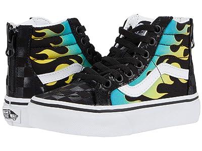 Vans Kids SK8-Hi (Little Kid) ((Glow Flame) Black/True White) Kids Shoes