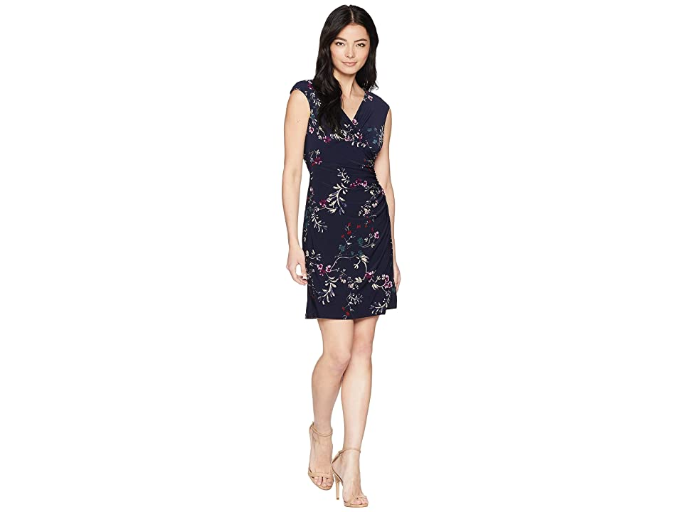 LAUREN Ralph Lauren Petite Adara Cap Sleeve Day Dress (Lighthouse Navy/Purple/Multi) Women