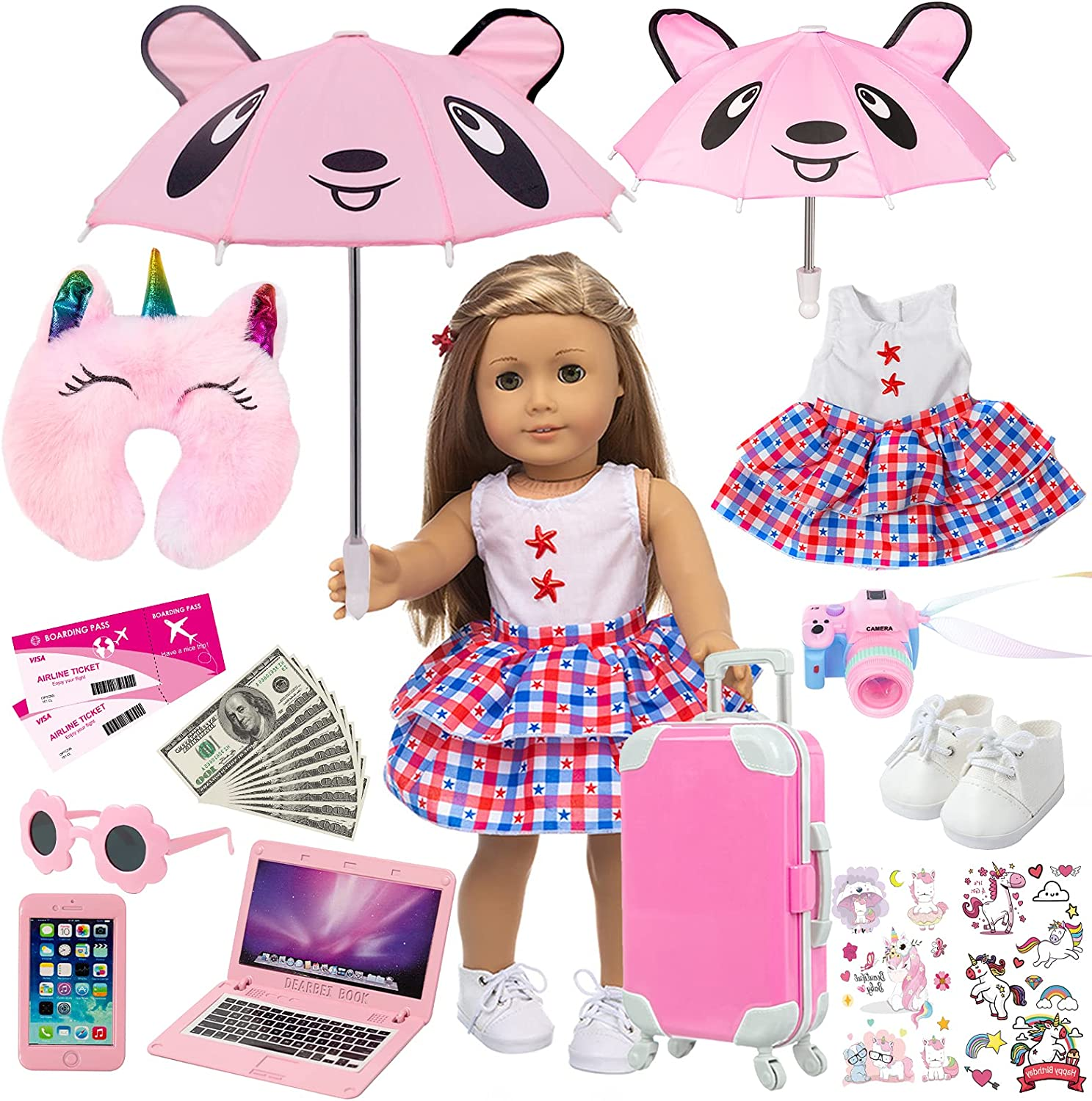 ZQDOLL American 18 Dedication inch Inexpensive Doll Clothes and - Trav Accessories