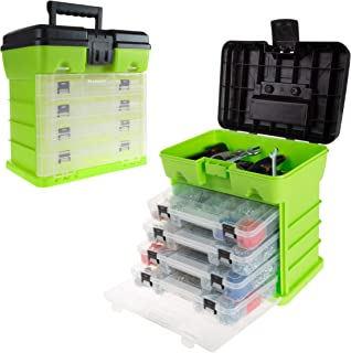 Storage and Tool Box-Durable Organizer Utility Box-4 Drawers with 19 Compartments Each for Hardware, Fish Tackle, Beads, and More by Stalwart (Green)