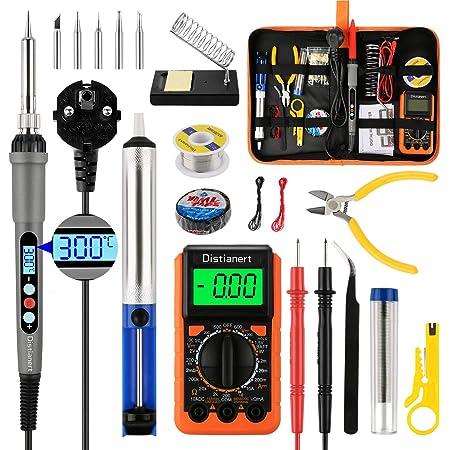 L/ötkolben Kit mit Schalter /°C und /°F f/ür elektrische Wartung Temperatur des L/ötkolbens 60 W einstellbar 180 ~ 500 /°C EU L/ötkolben Set 14 in 1