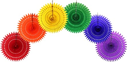 product image for 21 Inch Classic Rainbow Party Decorations (6 Fans)