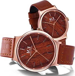 Couple Watches for Men and Women, Quartz Analog Wristwatches with Classic Leather Straps, Anniversary Gift Set
