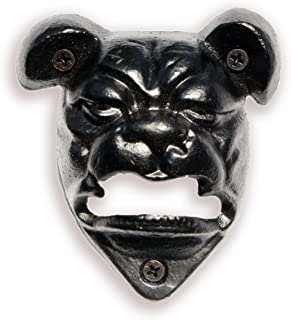 English Bulldog Wall Mounted Beer Bottle Cap Opener | Durable Cast Iron and Black Vintage Finish