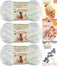 Bernat Softee Baby Yarn 3 Pack Bundle Includes 3 Patterns DK Light Worsted (Baby Baby Ombre)