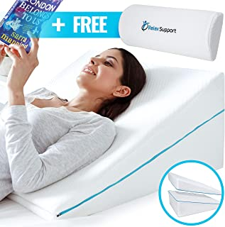 Memory Foam Back Support - Wedge Pillow RS6 Relax Support - Neck and Lumbar Pain Relief Only Wedge Pillow w/Strategic Elevation 3-in-1 Technology to Give You The Angle of Support You Need