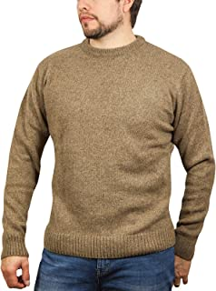 Men's Shetland Wool Crew Neck Cardigan Sweater Knitted Jumper Pullover