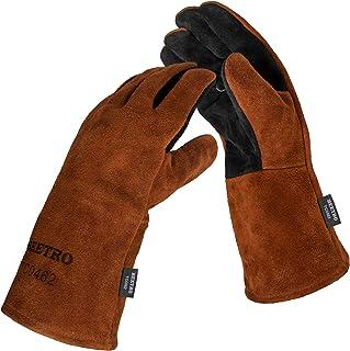 Warfox Leather Welding Gloves For Plasma Cutter//Mig Welder//Tig Welder//Stick Welder For Oven//Grill//Fireplace//Furnace//Stove//Pot Holder//Tig Welder//Mig//BBQ//Animal handling glove 16 INCH, Red