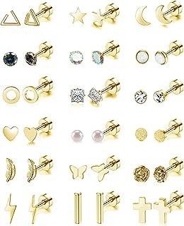 18 Pairs Stainless Steel Stud Earrings Set for Women Men Star Moon flower Heart Leaf Opal 20G Cartilage Earrings Hypoaller...