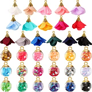 108 Pieces Jewelry Making Charms, Crystal Glass Ball Charms with Star, Fabric Flower Pendants Earrings Colorful Jewelry Ch...