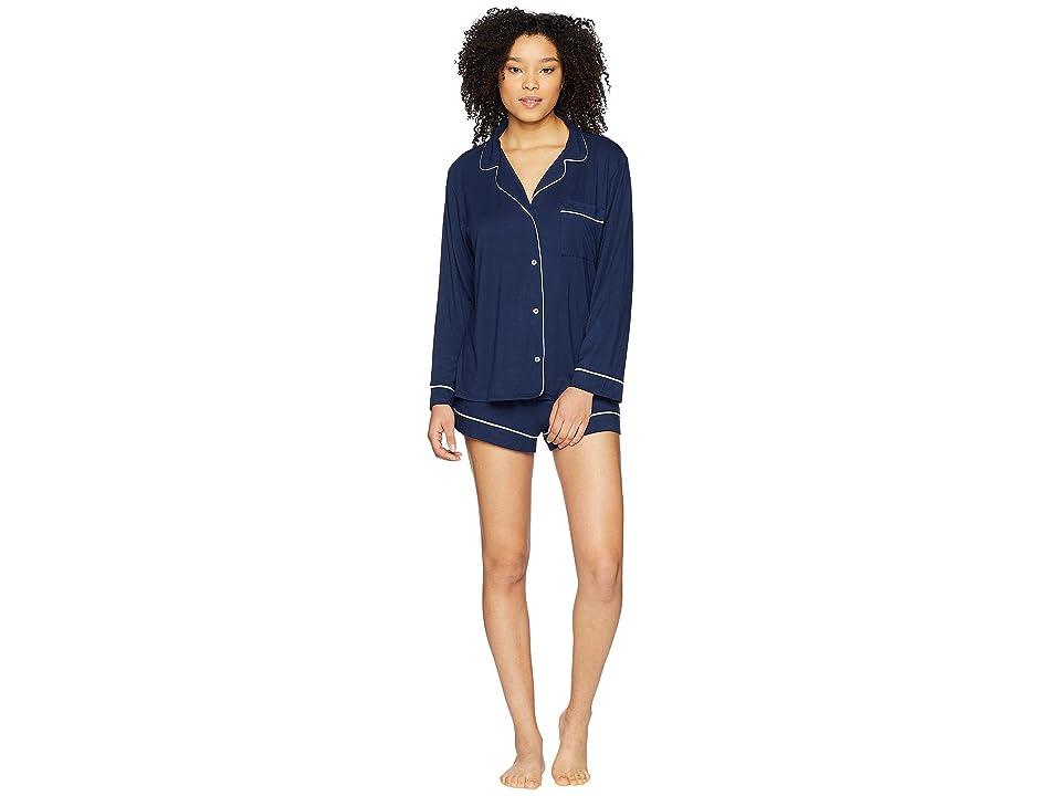 Eberjey Gisele Long Sleeve Short and PJ Set (Navy/Ivory) Women