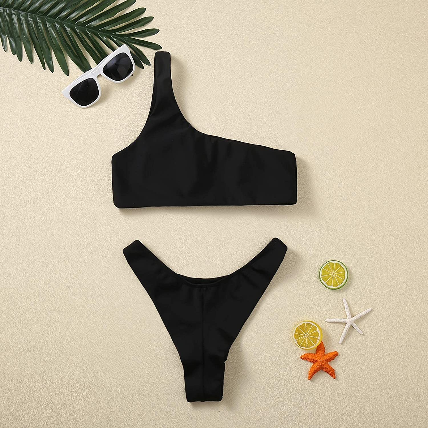 WoCoo Womens Crop Top Swimsuit High Waisted One Shoulder Sports Bikini Two Piece Push Up Bathing Suit with Thong