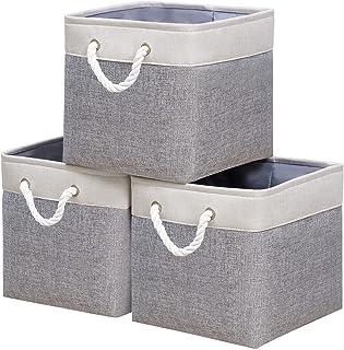 Yawinhe Lot de 3 paniers de rangement pliables en toile pour étagères, armoires, vêtements, jouets, serviettes, salle de b...