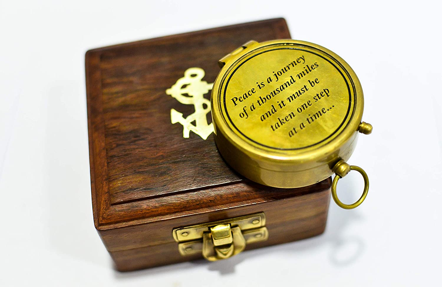 Maritime Antiques Peace is a Journey Quote Solid Brass Vintage Pocket Compass Gift with Wood Box