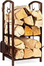 Best Choice Products 5-Piece Indoor Outdoor Wrought Iron Firewood Log Storage Rack Holder Tools Set for Fireplace, Fire Pi...