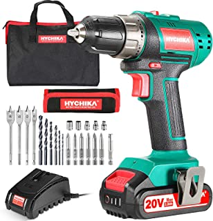 Cordless Drill Driver 20V, HYCHIKA Power Drill Set 330 In-lb Torque,1500 RPM,2.0Ah Li-Ion Battery, 1H Fast Charger, 21+1 C...