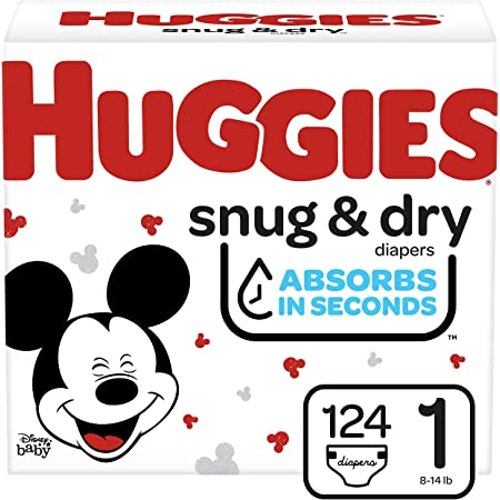HUGGIES Snug & Dry Baby Diapers, Size 1, White, 124 Count