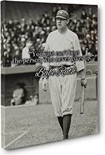 Never Give Up, Babe Ruth Quote Canvas Wall Art