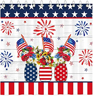 Details about  /Blue Red and White Stripes and Stars Fabric Shower Curtain Set Bathroom Decor LB