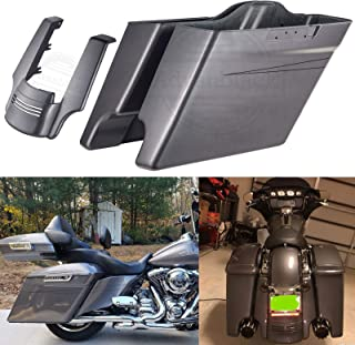 Us Stock Charcoal Pearl 4 1/2 inch Extended Stretched Saddlebags Black Pinstripe Stretched Rear Fender Extension Fit for Harley Touring Street Glide Road Glide Special Electra Glide 2014-2019