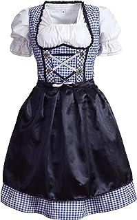 Mufimex Damen Dirndl Kleid Dirndlkleid Trachtenkleid Midi Kariert