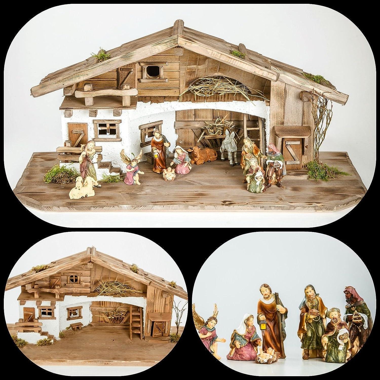 Groe Weihnachtskrippe mit Krippenfiguren (W11+kF5) Krippenstall Weihnachten-Weihnachtskrippen