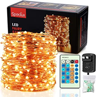 Speclux Dimmable LED String Light with Remote Control & Timer, 300LEDs Waterproof Starry Fairy Copper Wire for Indoor/Oudoor Illumination Decoration, 99FT, Warm White