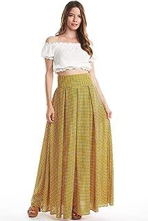 Checkered Box Pleats Long Skirt