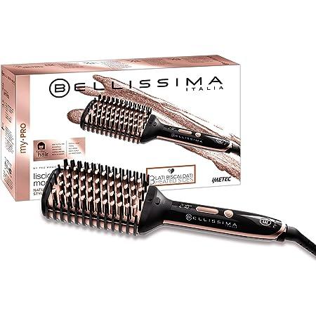 Imetec Bellissima My Pro Magic Straight Brush PB11 100 Cepillo Alisador de Pelo, eléctrico, 3 lados externos con calor, tecnología de iones, revestimiento de cerámica, 160ºC a 210ºC