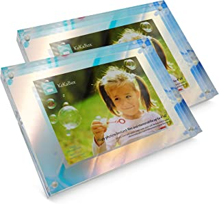KeKaBox Whimsical Iridescent Holographic Acrylic Floating Picture Frame, Magnetic Closure - Displays Photo up to 4x6 (Value Pack of 2)