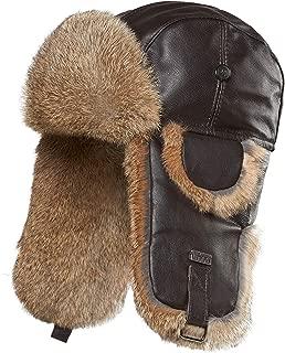 Leather Rabbit Fur Aviator Hat