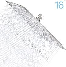 Derpras 16 Inch Square Rain Shower Head, 304 Stainless Steel, Ultra Thin High Pressure Bathroom Rainfall Showerhead (Brushed Nickel) (324 Jets)