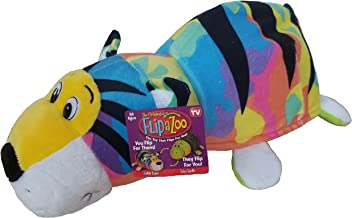 FlipaZoo - 16' Pillow with 2 Sides of Fun for Everyone - Each Huggable Character is Two Wonderful Collectibles in One (Gildy Tiger /Toby Turtle)