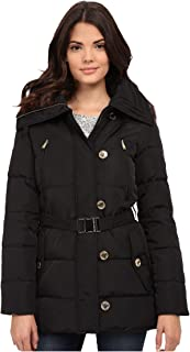Michael Kors Women's Fur Trim Hooded Down Coat-L