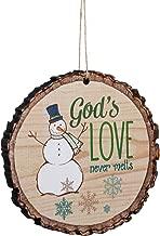 P. Graham Dunn God's Love Never Melts Snowman Wood Tree Bark 4 inch Christmas Tree Ornament