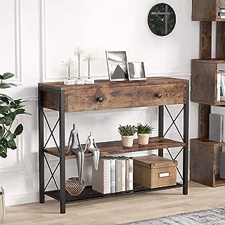 Tribesigns Table Console Tiroir Meubles, Table d'entrée Vintage, avec 2 Étagères, pour Couloir, Salon, Chambre, 100x30x80cm