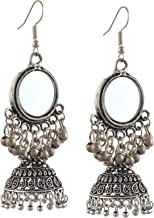 Zephyrr Fashion German Silver Hanging Hook Jhumki Earrings with Mirrors For Girls and Women