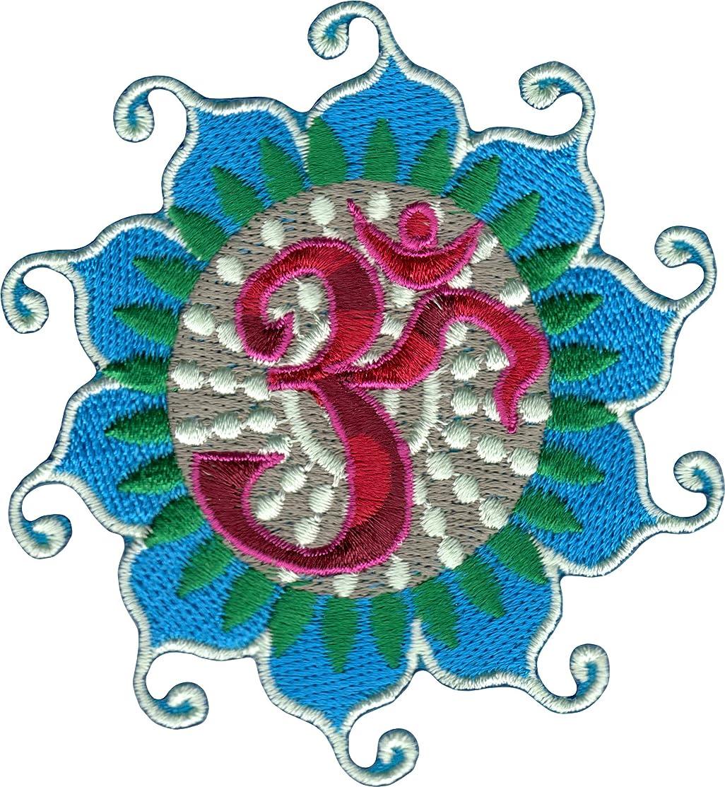 Novelty Iron on Patch - Zen / Om Symbol on Lotus Flower Petals