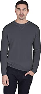 Essential Crewneck Sweater 100% Pure Cashmere Pullover Knitted Base Layer for Men