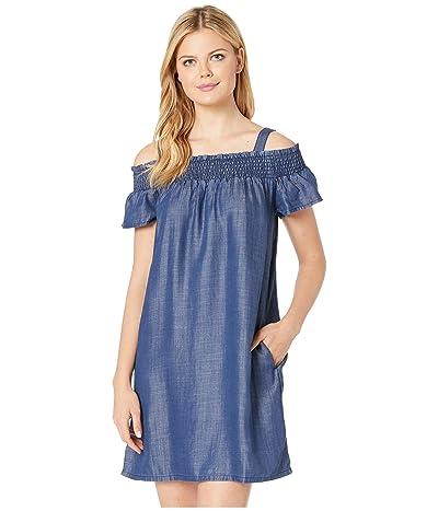 Stetson Dark Tencel Off the Shoulder Dress (Blue) Women