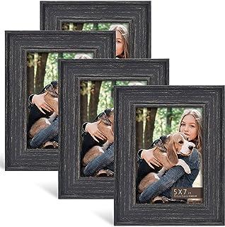 BOICHEN 5×7 Frame (4-Pack) – Picture Frames Rustic Black Farmhouse Photo Frame..