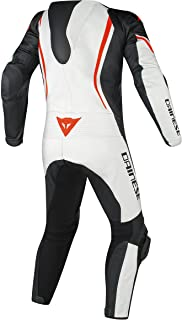 Dainese Assen Perforated Leather One-Piece Suit (48) (White/Black/Fluorescent RED)
