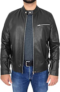 Mens Real Leather Biker Style Jacket Zip Fastening Casual Design Gerard Black